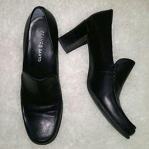 Franco Sarto Black Leather Low Block Heel 8.5M